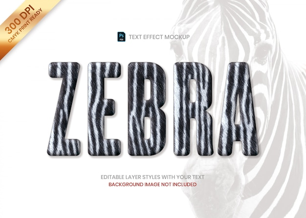 Zebra striped fur animal pattern text effect psd template. Premium Psd