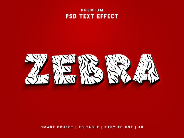 Текстовый эффект зебры Premium Psd