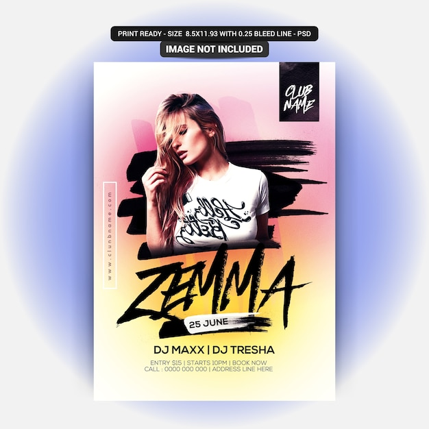 Zemma party flyer Premium Psd