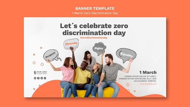 Modello di banner giorno di discriminazione zero con foto Psd Gratuite