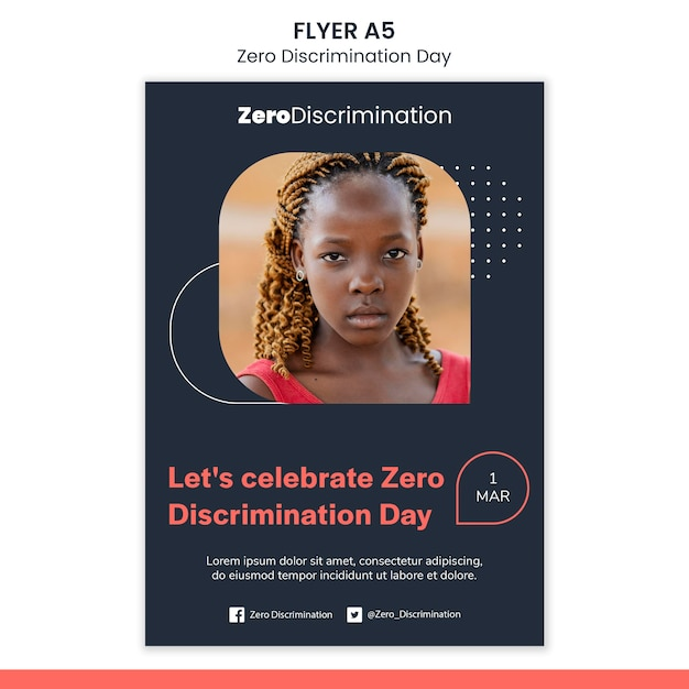 Шаблон флаера дня нулевой дискриминации Бесплатные Psd