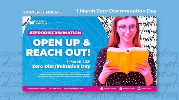Modello di banner orizzontale giorno di discriminazione zero Psd Gratuite