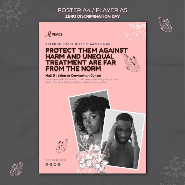 Modello di poster del giorno di discriminazione zero Psd Gratuite