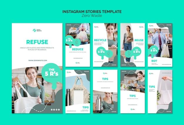 Zero waste instagram stories template Free Psd