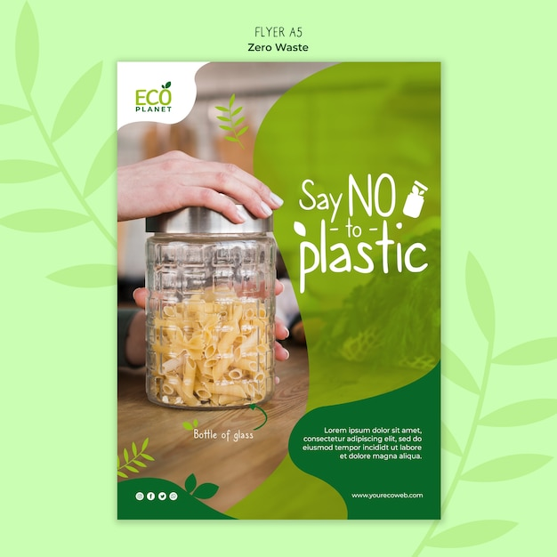 Zero waste poster template Free Psd
