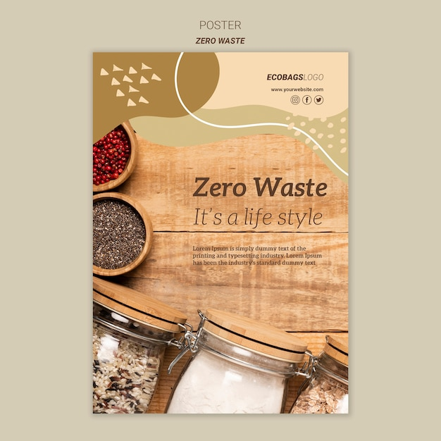 Zero waste poster template | Free PSD File
