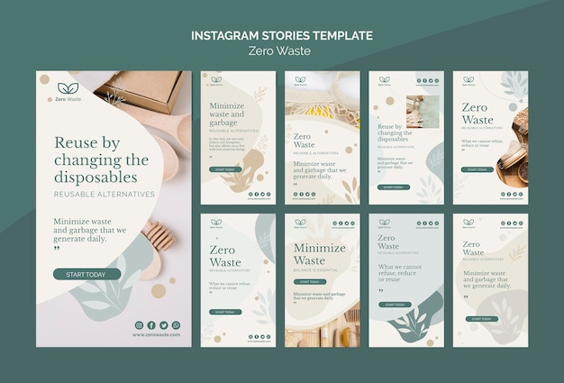 Zero waste products instagram stories template Premium Psd