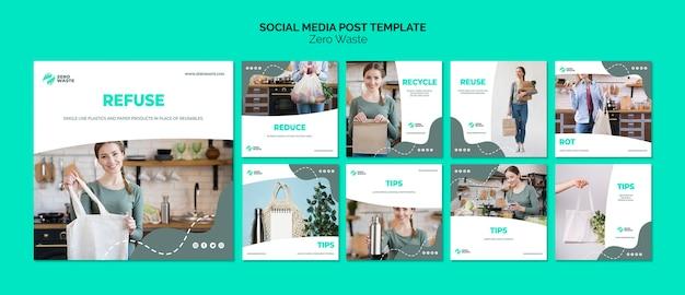 Zero waste social media post template Free Psd