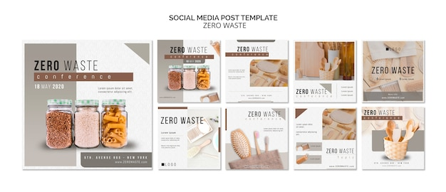 Zero waste social media posts template with photo Free Psd