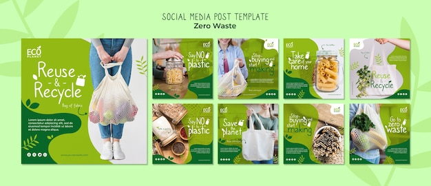 Zero waste social media posts template Free Psd