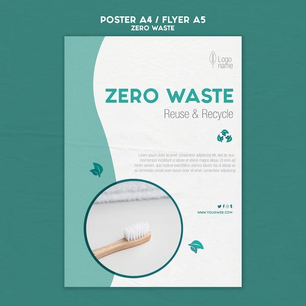 Modello di poster zero waster con foto Psd Gratuite