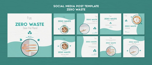 Zero waster social media posts template Free Psd