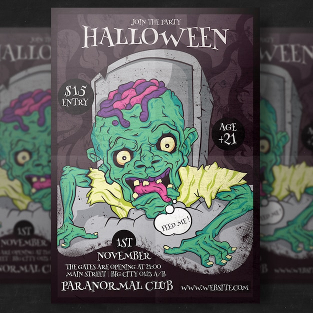 Zombie halloween party flyer template PSD file | Premium