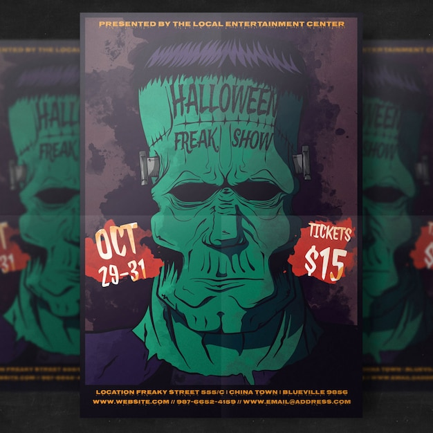 Zombie halloween party flyer template Free Psd