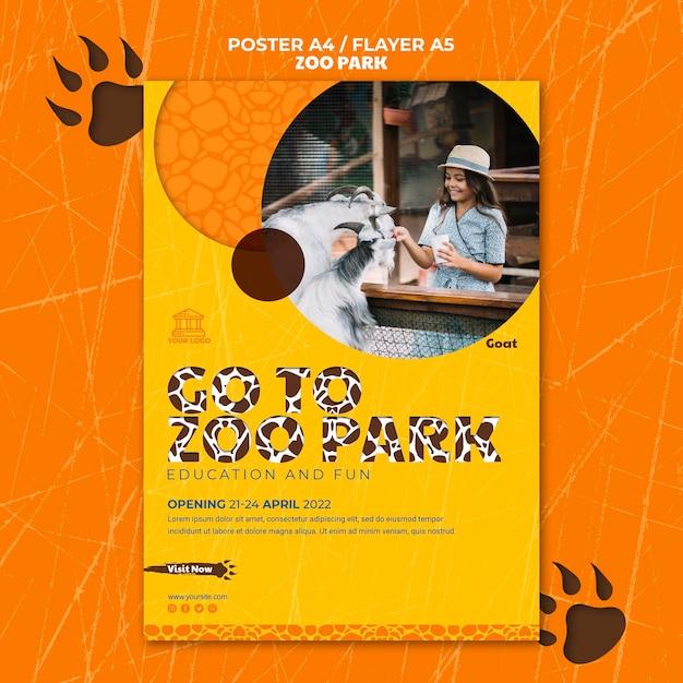 写真付き動物園公園ポスターテンプレート 無料 Psd