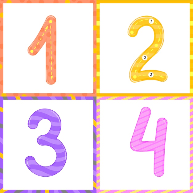 子供のフラッシュカード番号追跡学習を数え、書くように設定します。 0〜10の数字を学ぶ Premiumベクター