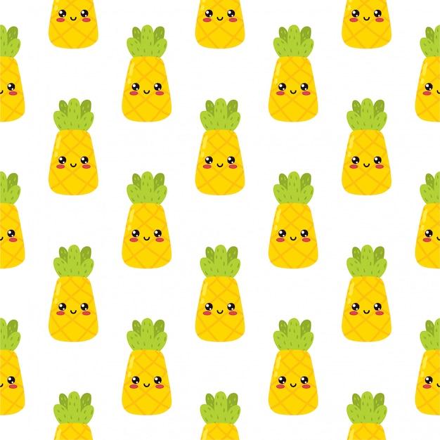 007 kawaii cartoon cute pineapple fruit  emoji sticker happy character on white background delicious icon design vector illustration element seamless pattern Premium Vector