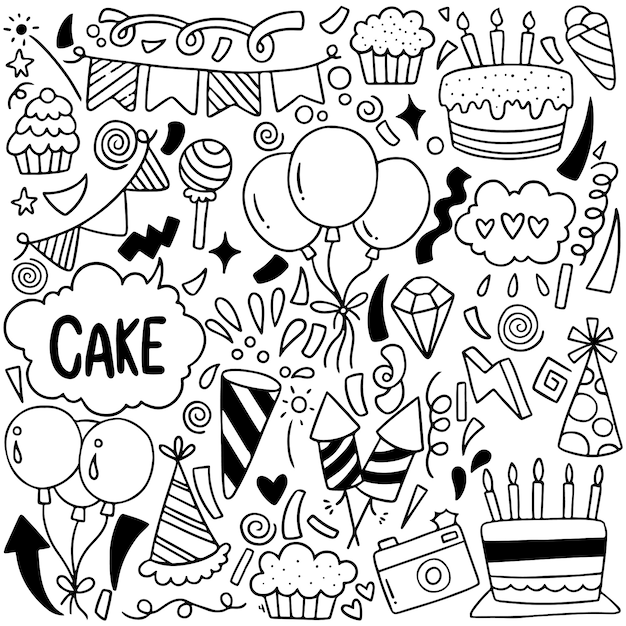 07-09-065 hand drawn party doodle happy birthday ornaments background pattern vector illustration Premium Vector