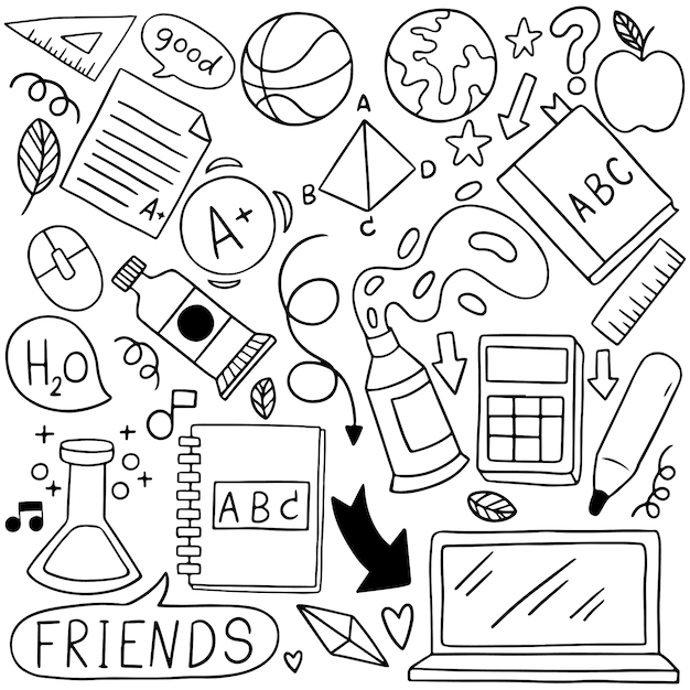 08-09-080 hand drawn set of school icons ornaments background patternflag Premium Vector