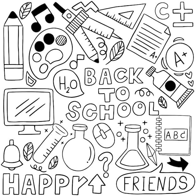 08-09-080手描きの学校アイコン装飾セット背景patternflagのセット Premiumベクター