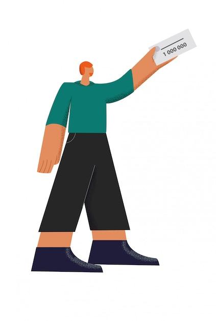Мужской персонаж держит победителя лотерейный билет 1 000 000 плоской иллюстрации, изолированных на белом Premium векторы