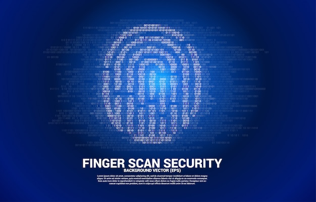 1と0のバイナリコードからベクトル拇印アイコン。指スキャン技術とプライバシーへのアクセスのための概念。 Premiumベクター