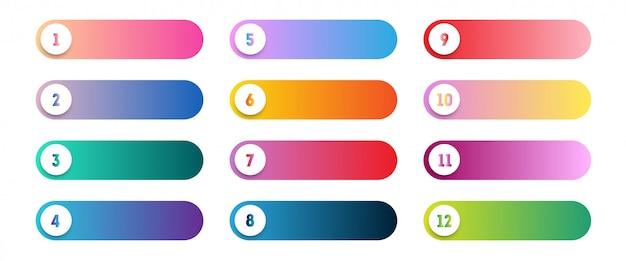 ベクトル番号箇条書き1〜12のカラフルなwebボタンセット Premiumベクター