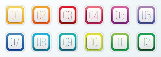 Число пунктов маркера установлено от 1 до 12. Premium векторы