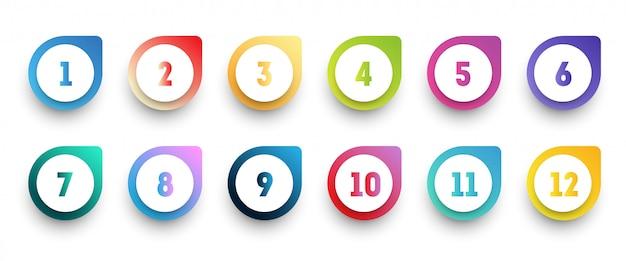 1から12までの数字で設定されたカラフルなグラデーション矢印の箇条書きアイコン。 Premiumベクター
