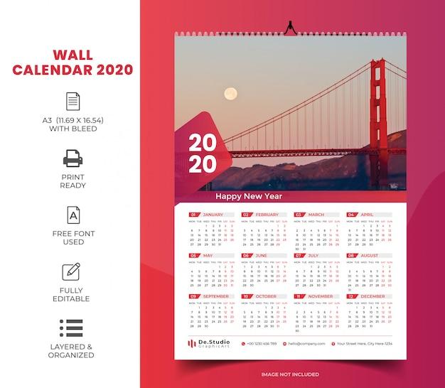 Настенный календарь на 1 страницу 2020 Premium векторы
