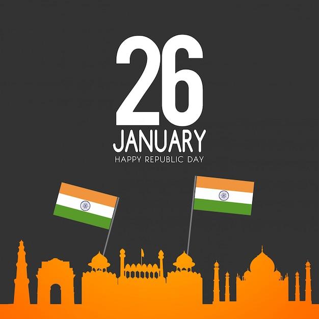 インド共和国記念日1月26日 Premiumベクター