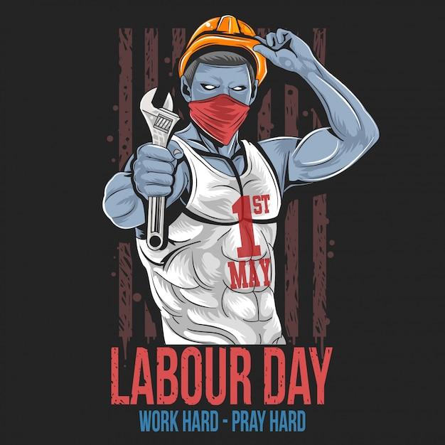 労働日1 5月1日 Premiumベクター