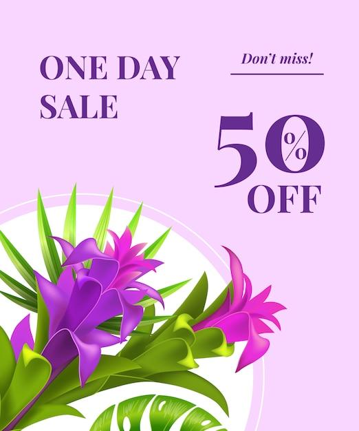 1日の販売、50%オフ、ラウンドフレームに紫色の花のリーフレットを見逃すことはありません 無料ベクター