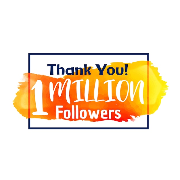 1 million followers design Free Vector