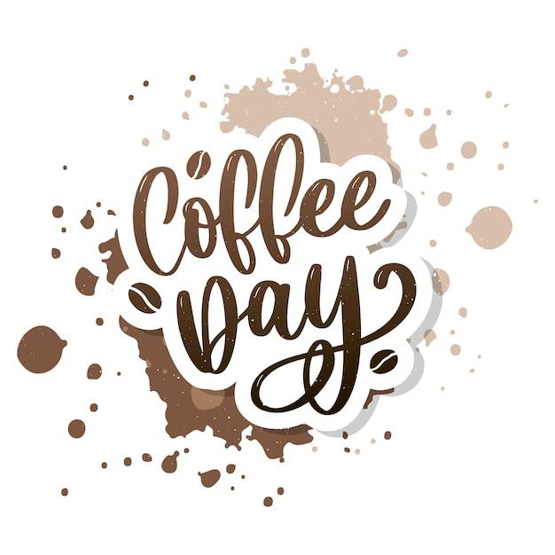1 октября международный день кофе logo. иллюстрация вектора значка логотипа дня кофе мира на белой предпосылке. Premium векторы