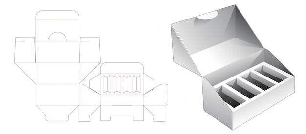 1 piece packaging with insert supporter die cut template Premium Vector