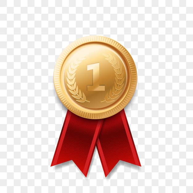 1 winner golden medal award with ribbon   realistic icon isolated  . number one 1st place or best victory champion prize award gold shiny medal badge Premium Vector
