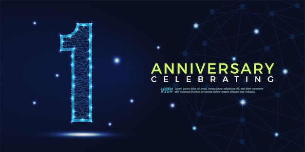 1 year anniversary celebrating numbers abstract polygonal Premium Vector