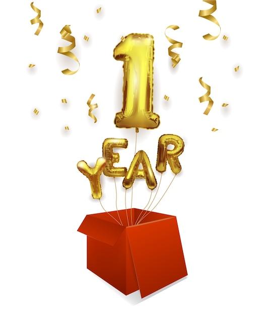 1 년 골드 풍선. 첫 번째 기념일 축하. 반짝이는 색종이가 상자 밖으로 날아가는 풍선, 1 번. 프리미엄 벡터