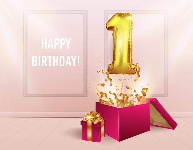 1 год с золотым шариком. празднование юбилея. из коробки вылетают воздушные шары с сверкающим конфетти. Premium векторы