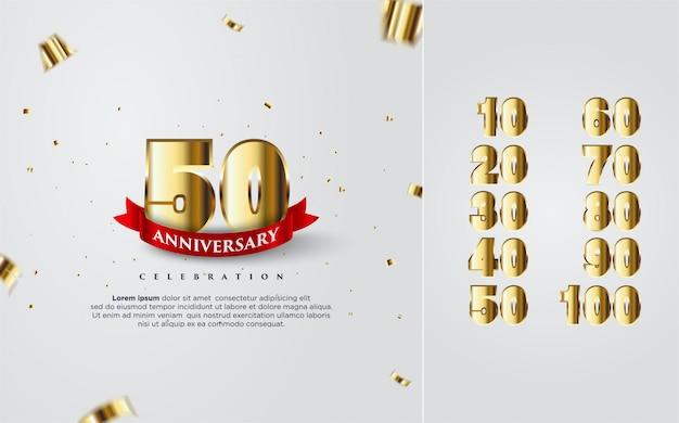 10から100までのいくつかの数字で金の幸せな記念日のお祝い。 Premiumベクター
