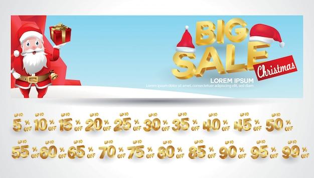 Рождественская распродажа баннер с биркой скидок 10,20,30,40,50,60,70,80,90,99 процента Premium векторы