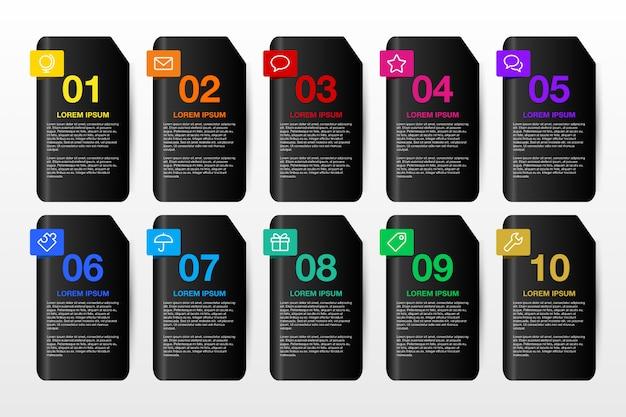 ビジネス10オプションの3 dインフォグラフィックデザインテンプレート。 Premiumベクター