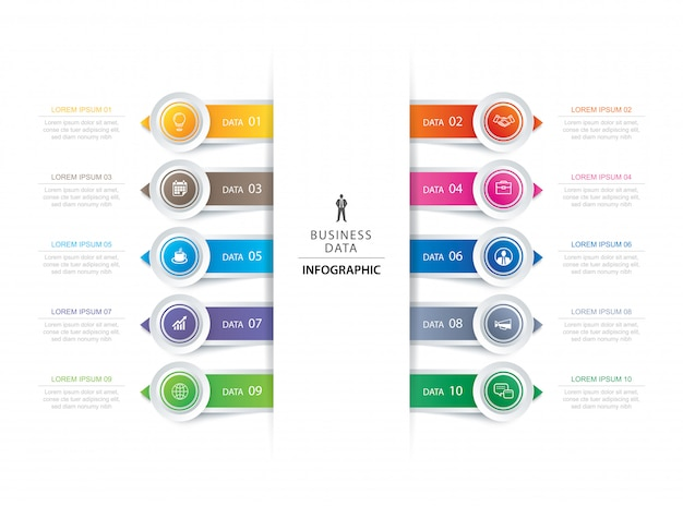 10 circle tab step infographic with abstract timeline template. Premium Vector