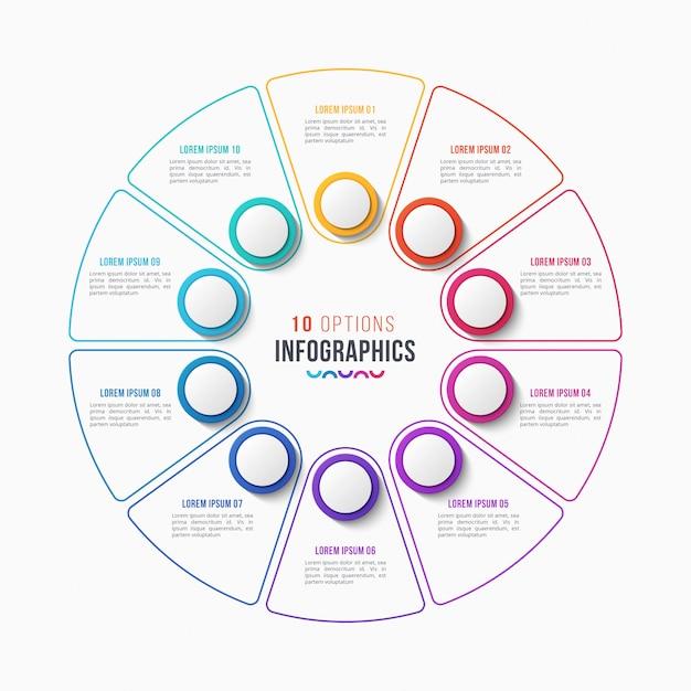 10 parts infographic design, circle chart Premium Vector