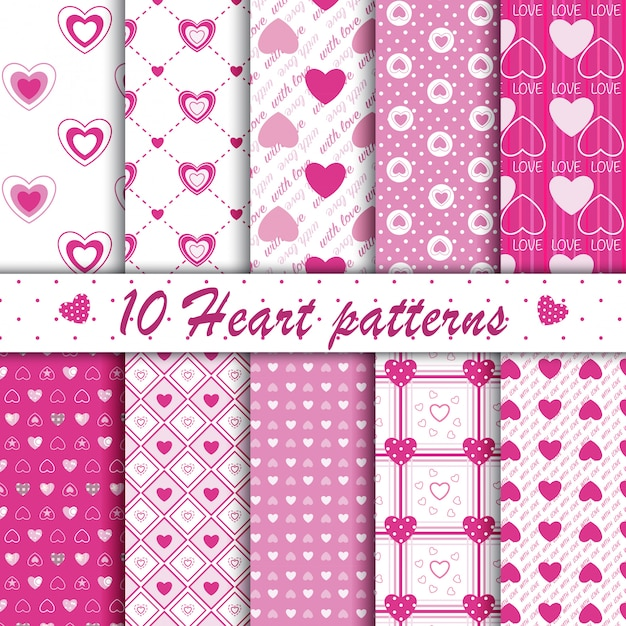 10 pink heart shape seamless patterns collection Premium Vector