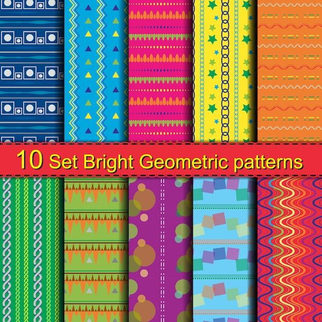 10 set bright geometric patterns Premium Vector