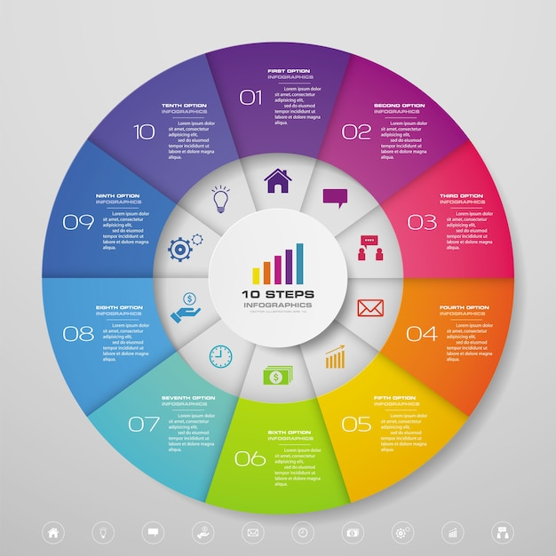 10 steps cycle chart infographics elements for data presentation. Premium Vector