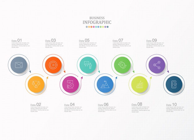 10 steps infographic and icons for business concept. Premium Vector