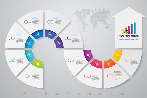 10 steps infographics element arrow template chart. Premium Vector